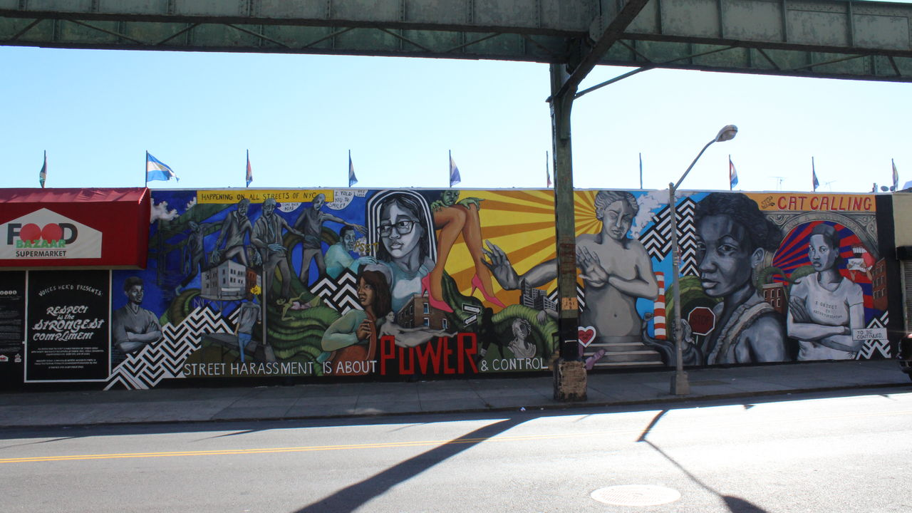 "The impressive mural, ""Respect is Not the Strongest Compliment,"" features an anti-catcalling messages."