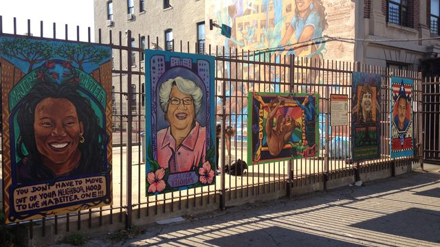 A series of panels featuring important environmentalists were installed on a fence in Hunts Point.