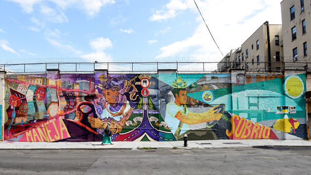 This wide-view of a mural encourages passerbys to drive sober to prevent DWIs.
