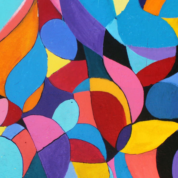 Photo of a colorful and abstract mural.